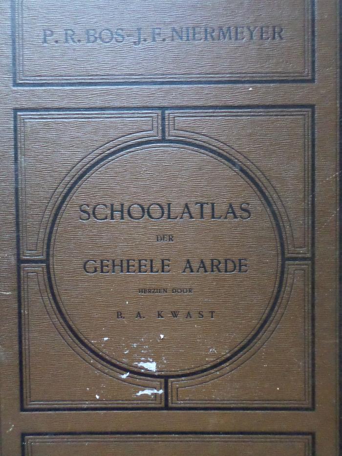 Bos, P.R. - Bos' schoolatlas der geheele aarde / Beknopt leerboek der Aardrijkskunde (28ste editie)