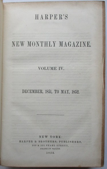 Harper & Brothers - Harper's New Monthly Magazine Volume IV, December, 1851, to May, 1852